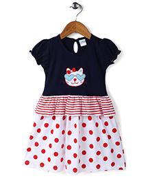 Babyhug Puff Sleeves Frock Polka Dots Print - Navy And White