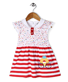 Babyhug Cap Sleeves Frock Multi Print - White Red