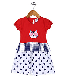 Babyhug Puff Sleeves Frock Cat Embroidery - Red White