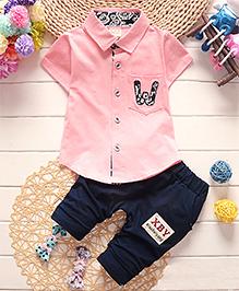 Pre Order : Lil Mantra W Print Shirt & Capri - Pink & Blue