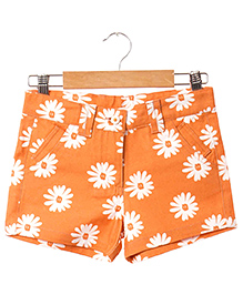 Hugsntugs Flower Printed Shorts - Orange