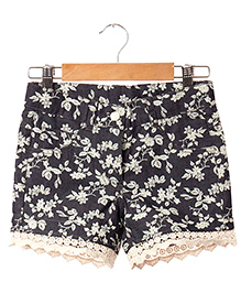Hugsntugs Denim Floral Print Shorts - Blue