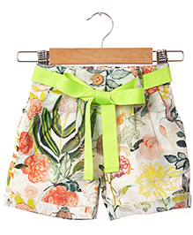 Hugsntugs Floral Print Canvas Shorts - Lemon Green