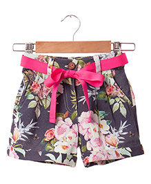 Hugsntugs Floral Print Canvas Shorts - Blue