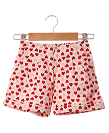 Hugsntugs Heart Printed Canvas Shorts - Pink