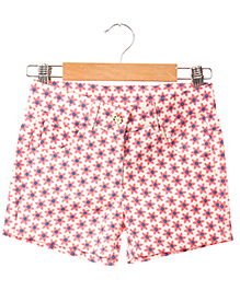 Hugsntugs Flower Print Canvas Shorts - Pink