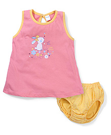 Tango Little Friend Printed Frock With Dotted Bloomer Set - Pink & Yellow