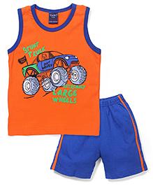 Taeko Sleeveless T-Shirt And Shorts - Orange And Blue
