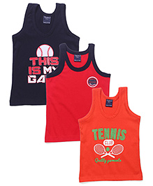 Taeko Vests Multi Print Red Orange And Blue - Set Of 3