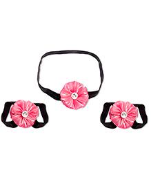 Treasure Trove Headband And Barefoot Sandal Combo Set  - Black And Pink