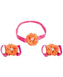 Treasure Trove Headband And Barefoot Sandal Combo Set  - Orange And Magengta