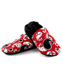 Skips Slip On Jootie Booties Paisley Print - Red and Black