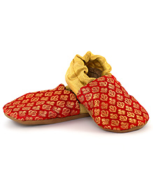 Skips Printed Slip On Booties - Red and Golden