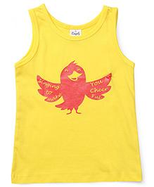 Simply Sleeveless Slip Bird Print - Yellow