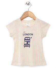 Simply Short Sleeves Dotted Top London Print - Cream