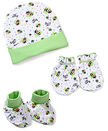 Morison Baby Dreams Bee Printed Cap Mittens Booties - Green