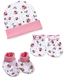 Morison Baby Dreams Bee Printed Cap Mittens Booties - Pink