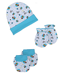 Morisons Baby Dreams Cap Mittens Booties Set Honey Bee Print - Blue