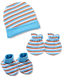 Morison Baby Dreams Striped Cap Mittens Booties - Blue