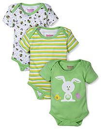 Morisons Baby Dreams Multi Printed 3 Onesies - Green & White