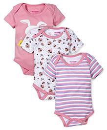 Morisons Baby Dreams Multi Printed 3 Onesies - Pink & White