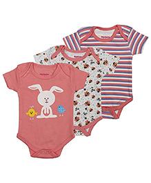 Morisons Baby Dreams Short Sleeves Onesies Pack of 3 - Peach White
