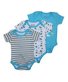 Morisons Baby Dreams Short Sleeves Onesies Pack of 3 - Blue White