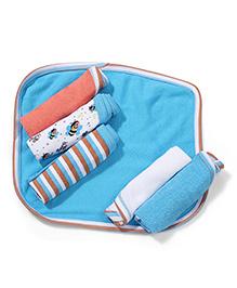 Morisons Baby Dream Multi Print Face Towel Set Of 6 - Blue & Multi Color