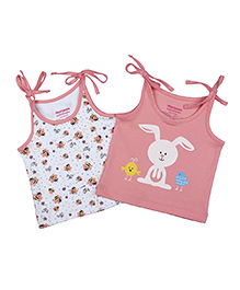 Morison Baby Dreams Singlet Bees And Bunny Print Slip Vests Pink & White - Set Of 2