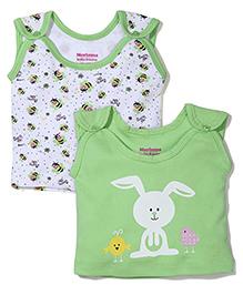 Morison Baby Dreams Sleeveless Bee And Bunny Printed Set Of 2 Jhabla Vests - Green & White
