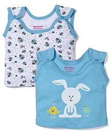 Morison Baby Dreams Sleeveless Bee And Bunny Printed Set Of 2 Jhabla Vests - Blue & White