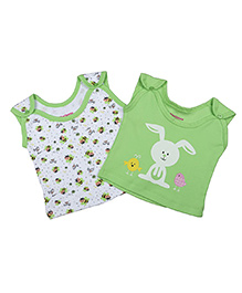 Morisons Baby Dreams Sleeveless Vests Pack of 2 - Green White