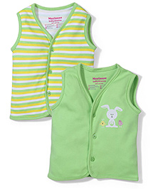 Morisons Baby Dreams Sleeveless Vest Set of 2 - Green