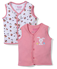 Morisons Baby Dreams Sleeveless Vest Set of 2 - Pink And White