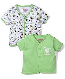 Morisons Baby Dreams Half Sleeve Vest Set of 2 - Green