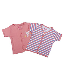 Morisons Baby Dreams Short Sleeves Vests Pack of 2 - Pink White