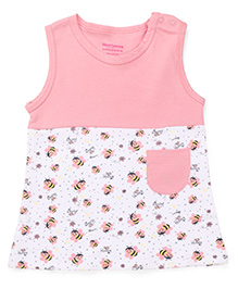 Morisons Baby Dreams Sleeveless Frock Honey Bee Print - Pink White