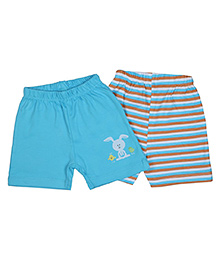 Morisons Baby Dreams Shorts Bunny & Strips Print Blue - Set of 2