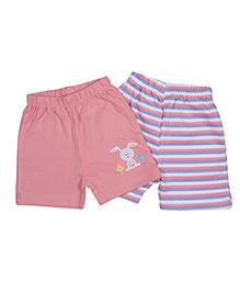 Morisons Baby Dreams Shorts Bunny & Strips Print Pink - Set of 2