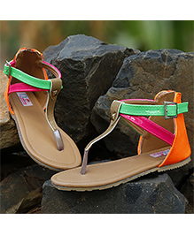 D'Chica A Sweet Symphony Of Summer Colours Sandals - Orange And Red