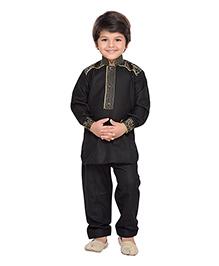 AJ Dezines Full Sleeves Pathani Style Kurta Pajama Set - Black
