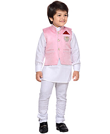 AJ Dezines Kurta Waistcoat And Breeches Set - White And Pink