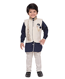 AJ Dezines Kurta Waistcoat And Breeches Set - Navy And Cream