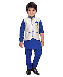 AJ Dezines Kurta Waistcoat And BreechesSet - Off White And Royal Blue