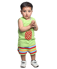Nino Bambino Organic Cotton Sleeveless Top And Shorts Pineapple Print - Green
