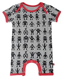Nino Bambino Half Sleeves Organic Cotton Romper Alien Print - Grey