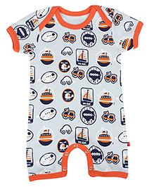 Nino Bambino Half Sleeves Organic Cotton Romper Transport Print - Orange & Grey