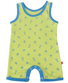 Nino Bambino Sleeveless Multiprint Organic Cotton Romper - Green