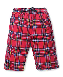 Ollypop Bermuda Check Shorts With Drawstring - Red