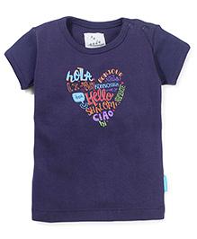 Zeezeezoo Hello Print T-Shirt  - Dark Blue